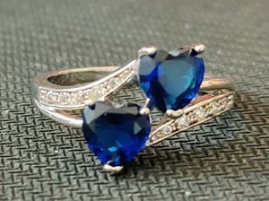 Double Heart Sterling Silver Simulated Blue Sapphire White Topaz Ring, Size 9.5 for Sale in Wichita, KS