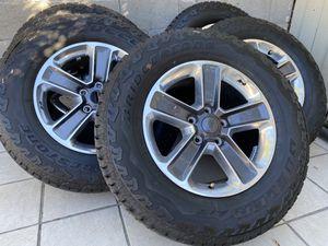 "18"" OEM Jeep Wrangler Sahara Wheels Polished Alloy Bridgestone 255/70/18 New Tires for Sale in Rancho Cordova, CA"