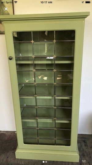 Green Wooden Cabinet with 3 Adjustable Shelves for Sale in Paw Paw, MI