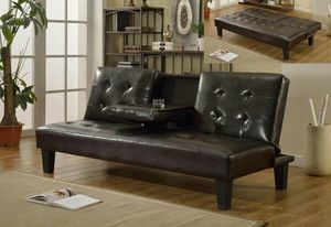 Brown or black futon sofa bed w/cup holders for Sale in Marietta, GA
