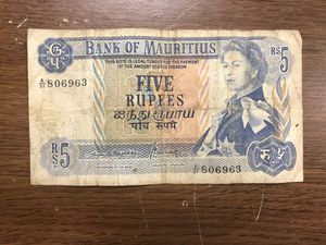 Mauritius 5 Rupees P30 1967 F-VF for Sale in Upland, CA