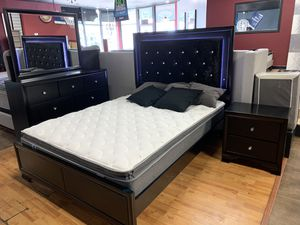 ⬛️ BLACK FRIDAY SALE ⬛️. QUEEN BEDROOM SET WITH LED HEADBOARD ONLY $999 INCLUDES BAMBOO MATTRESS ‼️ for Sale in Hesperia, CA