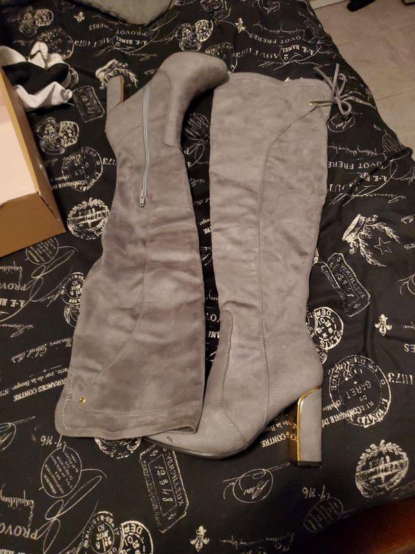 Gray Tall Boots