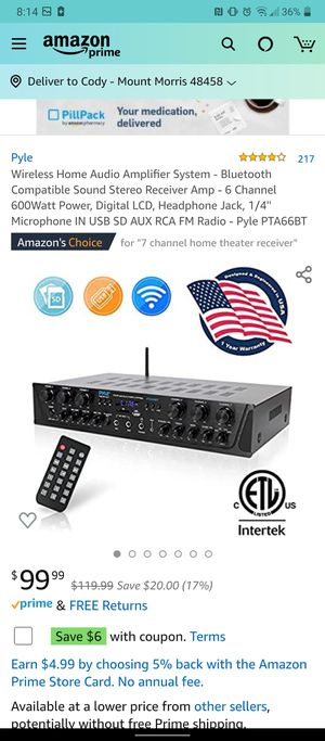 Pyle 6 channel Bluetooth receiver for Sale in Mount Morris, MI