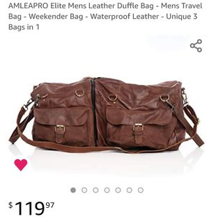 AMLEAPRO Elite Mens Leather Duffle Bag - Mens Travel Bag - Weekender Bag - Waterproof Leather - Unique 3 for Sale in Temple Hills, MD
