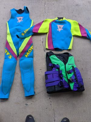 MOBBY'S wetsuit plus kawasaki life jacket for Sale in York, PA