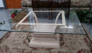 Mid-Century Modern Stone & Iron/Tempered Glass Cocktail/Coffee Table for Sale in BRECKNRDG HLS, MO