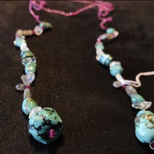 NWT New Real Turquoise, Rock Crystal, & Moonstone Lariat Necklace for Sale in Woodland Hills, CA