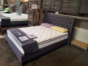 Queen Fabric Bed Frame, Blue Grey for Sale in Norwalk, CA