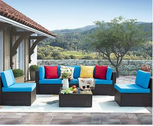 Sturdy 6 Pieces Patio Outdoor Furniture Sets, All-Weather Rattan Sectional w/Coffee Table& Washable Couch Cushions for Sale in Hidden Hills, CA