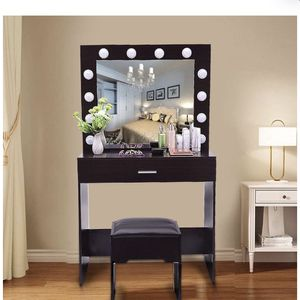 Vanity Set with Large Drawer for Women Makeup 12 LED Bulbs Lighted Mirror Cushioned Stool Table Dresser Desk for Bedroom (Black Walnut Vanity) for Sale in Elmont, NY