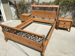 Queen Size Bed Frame with 2 Night Stands, 6 Drawer Dresser & Armoire for Sale in Pico Rivera, CA