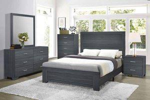 4PC QUEEN BEDROOM SET: QUEEN BED FRAME, DRESSER, MIRROR, NIGHTSTAND--DARK GREY OAK for Sale in Sacramento, CA