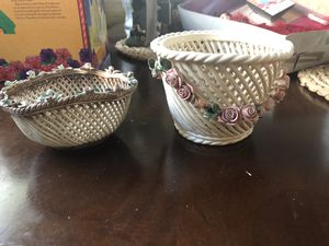 2 Capodimonte Italian Porcelain Woven basket Bowls for Sale in Spring Valley, CA