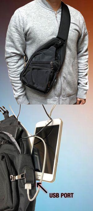 NEW! USB port Side Bag Crossbody Bag messenger backpack gym bag cell phone tablet holder wallet hiking biking school bag work bag for Sale in Carson, CA