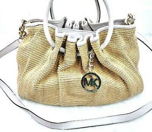 MICHAEL Michael Kors Basket Weave Straw Hobo Top Handle Bag with Crossbody for Sale in Wood Dale, IL