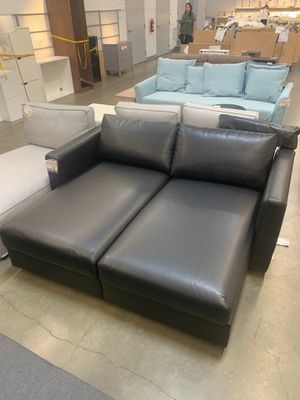 Black leather couch sofa with TONS of storage for Sale in Santa Ana, CA