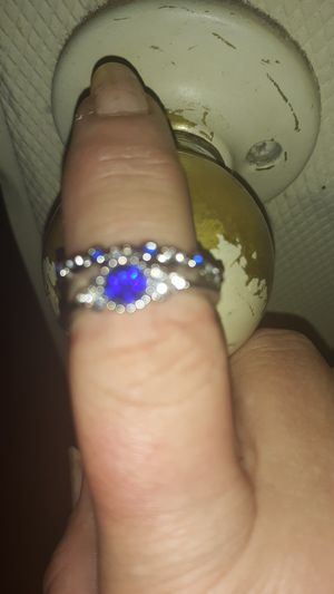 Brand new Silver ring set with blue stones size 9 for Sale in Hawkins, TX