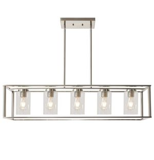 Contemporary Chandeliers Brushed Nickel 5 Light Modern Vintage Dining Room Lighting Fixtures Hanging, Kitchen Island Cage Pendant Lights Farmhouse Fl for Sale in Ontario, CA