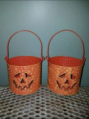 Set of 2 Metal Halloween Buckets/Candle Holder for Sale in Clinton, MA