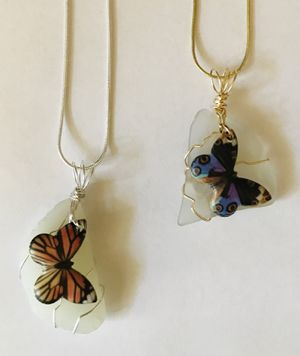 Jewelry necklace sea glass silver gold butterfly TWO with silver chain or leather cord Handcrafted! for Sale in Worcester, MA