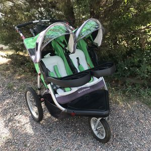 Schwinn Double Jogging Stroller Green/Black LIKE NEW!! for Sale in Golden, CO