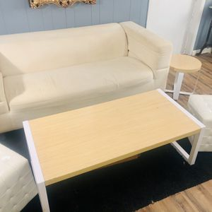White Living Room Set- Loveseat, Chase Lounge, Coffee & End Tables, Ottomans/seats for Sale in Wake Forest, NC