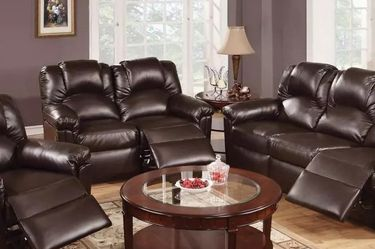 ESPRESSO BONDED LEATHER 3 PIECE LIVING ROOM RECLINER SET SOFA LOVESEAT ARM CHAIR - SILLONES RECLINABLES for Sale in San Fernando,  CA