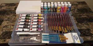 Art Supplies Water & Acrylic paints, Canvasses, and 2 sets of brushes for Sale in Bronx, NY