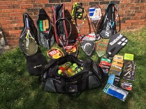 Brand new tennis racket's huge bag of tennis balls musk of tennis racket strings in bags for Sale in Manassas, VA
