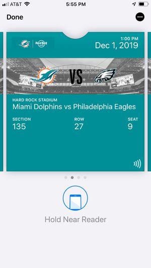 2 dophins vs eagles dec 1 for Sale in Lauderhill, FL