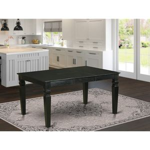 East West Furniture Wet-BLK-T Rectangular Dining Table with 18-Inch Butterfly Leaf, Black for Sale in Lemont, IL