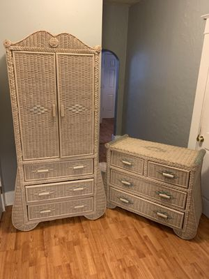 Wicker Armoire and Dresser Set for Sale in Tampa, FL