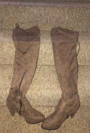 Light Brown thigh high heel boots for Sale in Detroit, MI