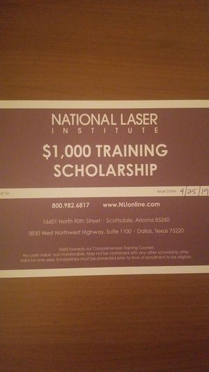 National Laser Institute $1,000 Scholarship for Sale in Phoenix, AZ