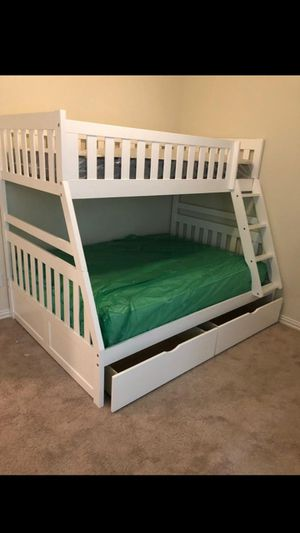 New white twin / full bunk bed w/ mattress set y drawers for Sale in Houston, TX