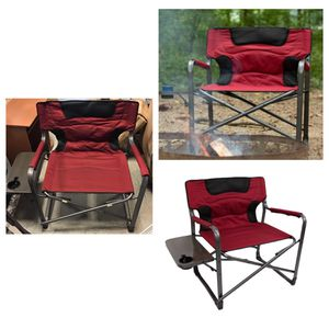 Ozark Trail XXL Folding Padded Director Chair with Side Table, Red 500 lb capacity for Sale in Stafford, TX