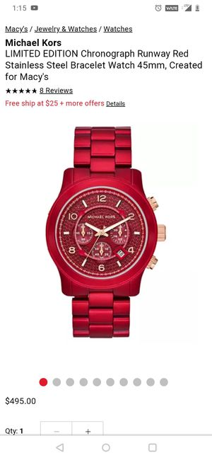 Micheal Kors 45mm runway red brand new for Sale in Los Angeles, CA