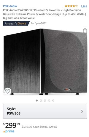 "Polk Audio PSW505 12"" Powered Subwoofer and Yamaha Recever for Sale in Santa Clara, CA"