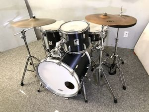 Vintage Sonor made in Germany brushed steel black jazz drum set Zildjian cymbals Avedis ride Sonor stands & throne Tama superstar snare sticks & key for Sale in Ontario, CA
