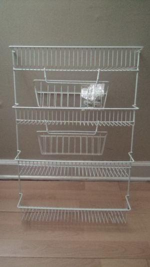 White wire coated Shelves with hanging baskets for Wall/ Door Mount for Sale in Schiller Park, IL