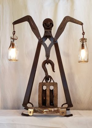 Antique Wood Pully Block Industrial Lamp - Milk Bottle Globes for Sale in University Place, WA