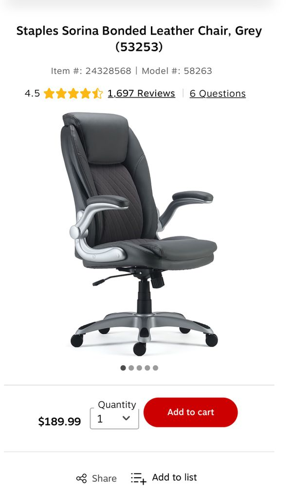 New & Assembled Sorina Quilted Fabric & Bonded Leather Manager's Office Chair, Grey
