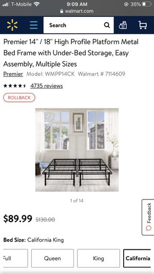 Ca king bed frame for Sale in Spring Valley, CA