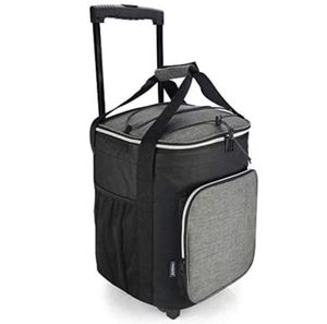 EAGLEMATE 36L Collapsible Rolling Insulated Cooler Bag Wheeled Soft Insulated Cooler Bag for Picnic, Fishing, Tailgate BBQ Beach Summer in Grey for Sale in Ontario, CA