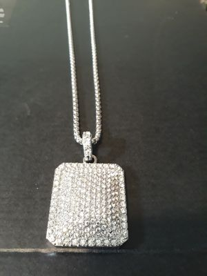 DIAMOND CZ PENDANT AND CHAIN IN STAINLESS for Sale in Houston, TX