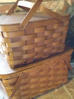 Set Of 2 Vintage Farmhouse Wooden Picnic Baskets for Sale in Vista,  CA