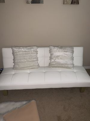 White Futon and fur pillows for Sale in Rancho Cucamonga, CA