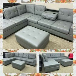 Gray Leather Sectional with Storage Ottoman for Sale in Atlanta,  GA