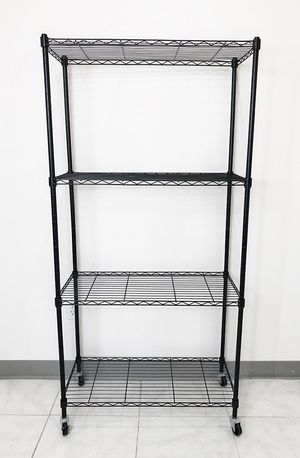 "New in box $50 Metal 4-Shelf Shelving Storage Unit Wire Organizer Rack Adjustable w/ Wheel Casters 30x14x61"" for Sale in Whittier, CA"